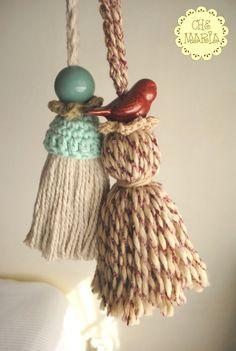Borlas para cortinas - decoración. Hilados de algodón con accesorio de cerámica.