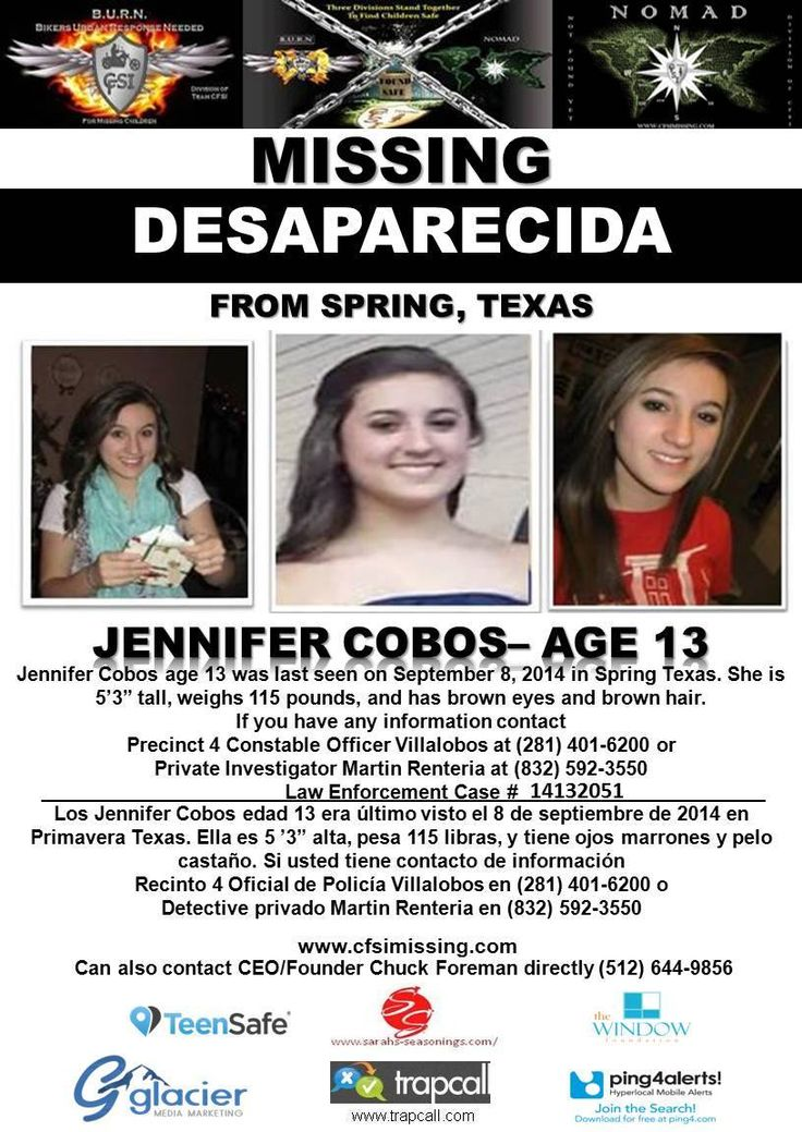Missing 13 Year Old Boy: 9/8/2014: Jennifer Cobos, Age 13, Is #missing From Spring