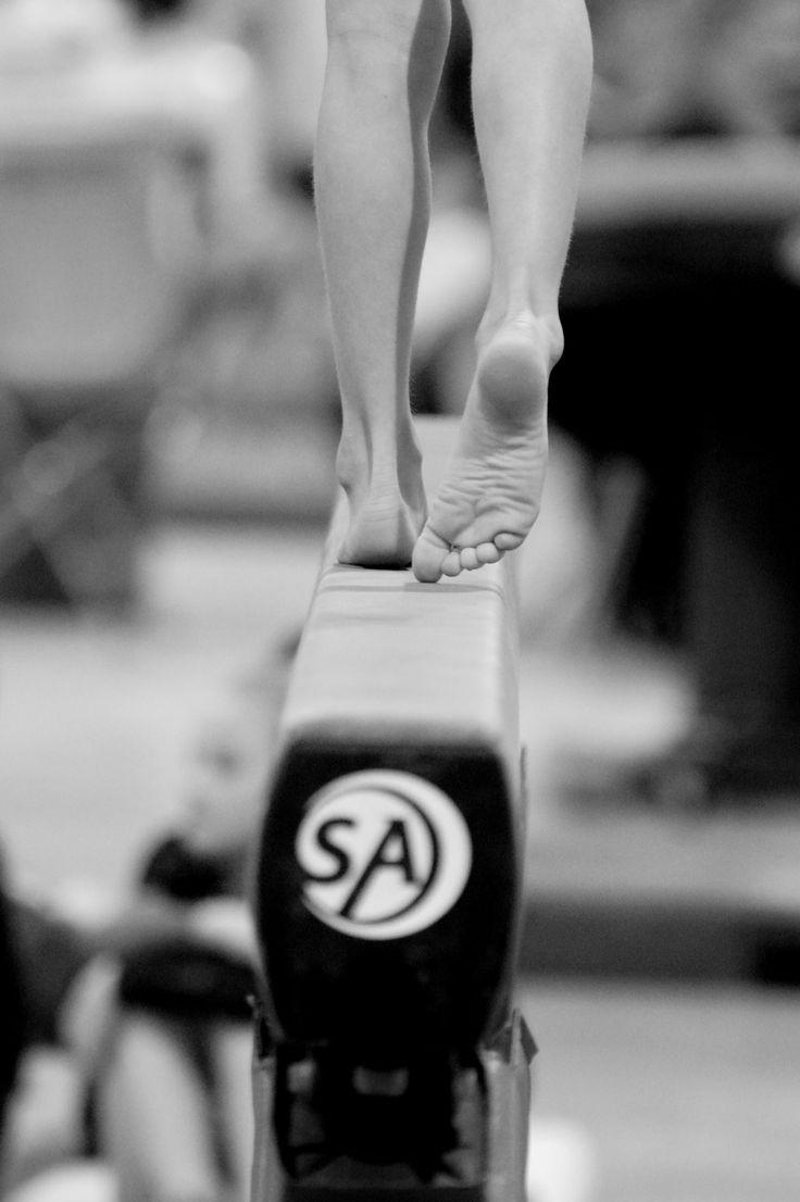 Gymnastics beam. little feet