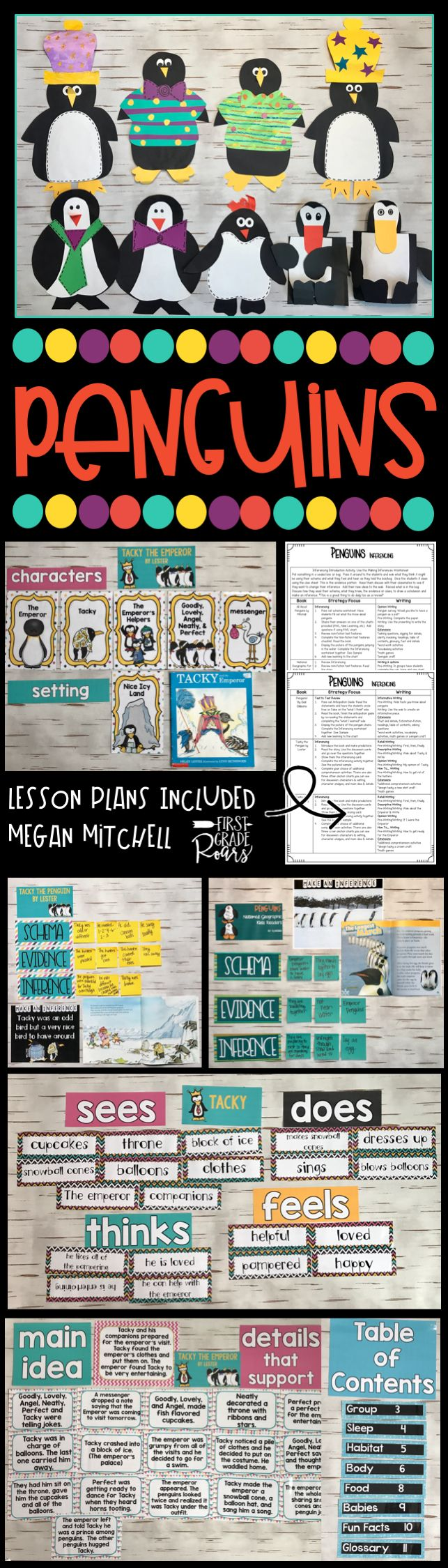 This unit on penguins will help your students understand non-fiction text features, inferencing and guided reading strategies for both fiction and non-fiction text. There are math games, writing activities, crafts, and so much more. Loads of anchor chart ideas too. This is perfect for first grade and second grade students.