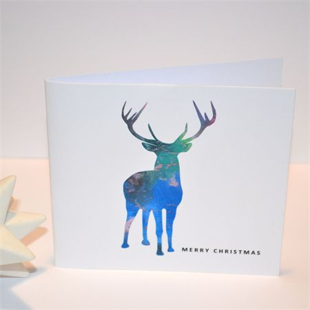 In My Pencilcase Christmas Cards - Pack of 10. Original Design of Reindeer in Watercolour