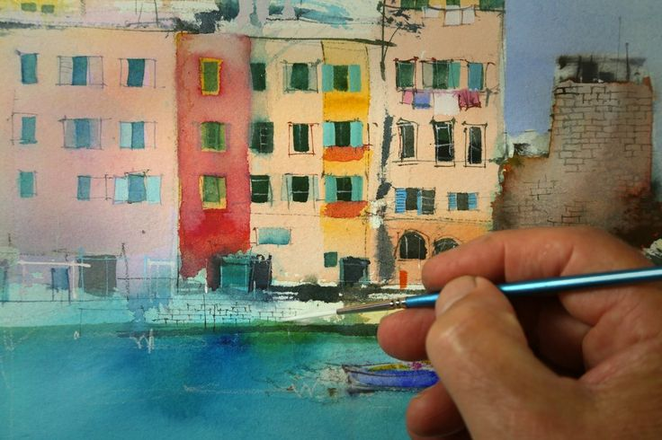 Techniques and tips for painting fine lines to increase the clarity and resolution of loose suggestive watercolor and mixed media paintings.