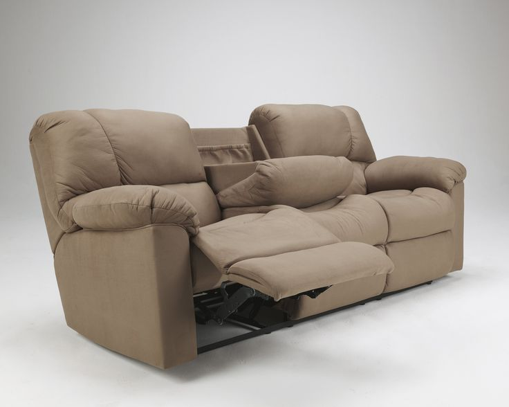 Chaise Lounge Sofa Contemporary Eli Cocoa Fabric Upholstery Reclining Sofa With Drop Down Table