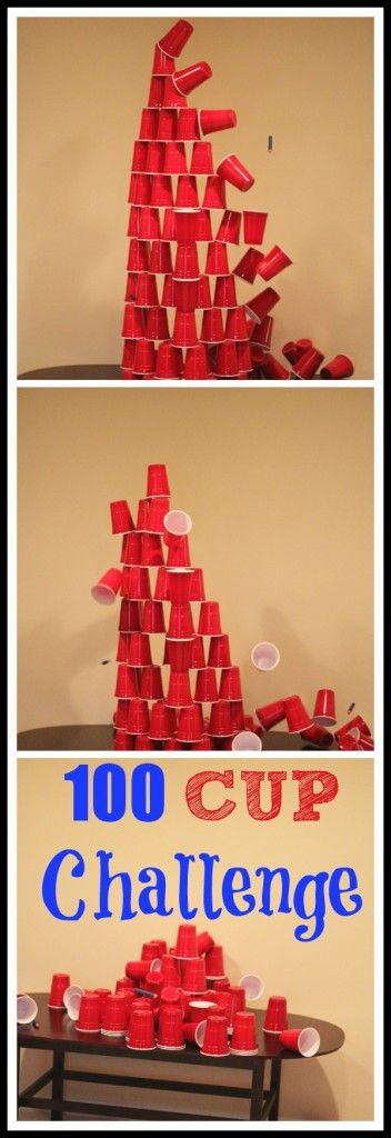 100 Cup Challenge. Fun way to celebrate the 100th day of school. {Busy Kids, Happy Mom}