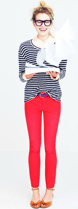 stripes + poppy pants: Poppies Pants, Red Bottoms, Red Skinny, Red Jeans, Bright Jeans, Color Skinny, Color Pants, Bright Pants, Red Pants