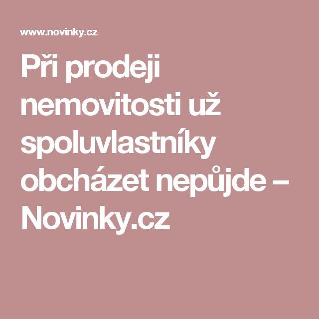 Při prodeji nemovitosti už spoluvlastníky obcházet nepůjde– Novinky.cz