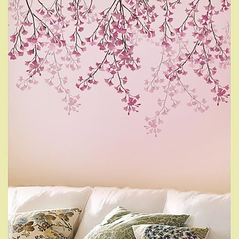 "Weeping Cherry Wall Stencil. $43 Single overlay stencil.  Sheet size: 30.5x38""  Branches are 18-27"" long."