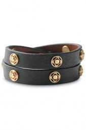 Clover Double Wrap Leather Bracelet--Black