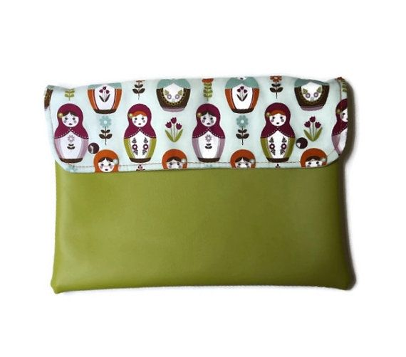 Olive vegan clutch with little matrioska vegan by Monalinebags