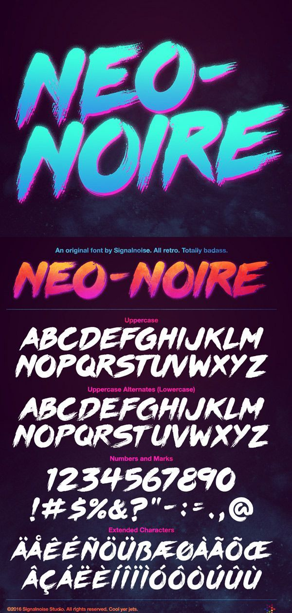 609cfdea0 Neo-Noire Font A custom retrowave typeface developed by Signalnoise, paying  homage to brush type from the 80s. This font is available for purchase in  the ...