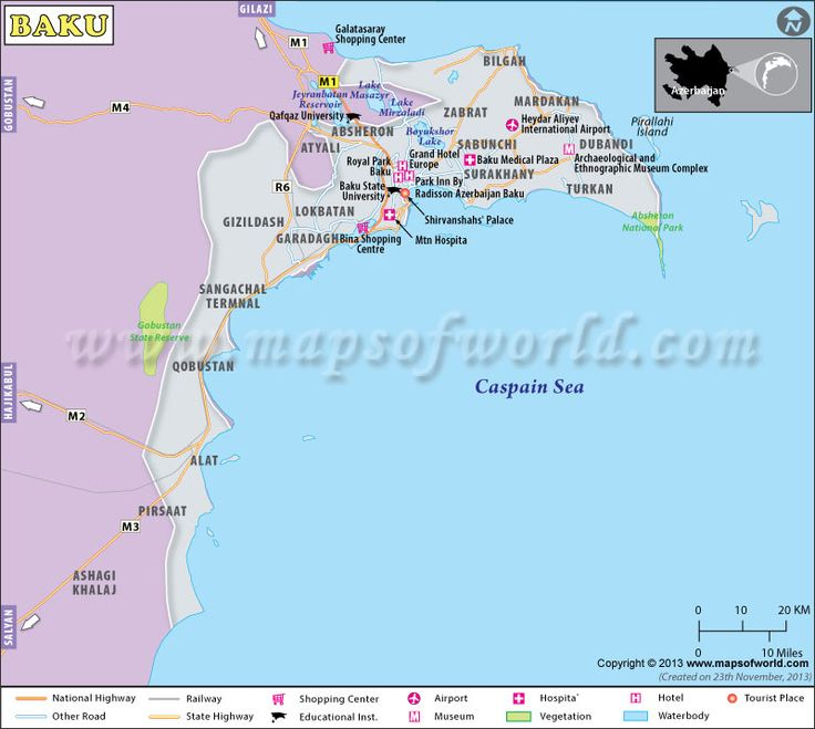 Baku map, the capital city of Azerbaijan shows major landmarks, tourist places, roads, rails, airports, hotels, restaurants, museums, educational institutes, shopping centers etc