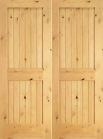 Prehung Slab Knotty Alder Wood 2 Panel V Grooved S/W 96 Interior. Double  Doors ...