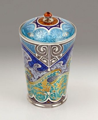 """silver and enamelled """"Floating Material"""" Beaker by Phil Barnes. Phil is a master engraver and enameler using CHAMPLEVÉ and vitreous enamels."""