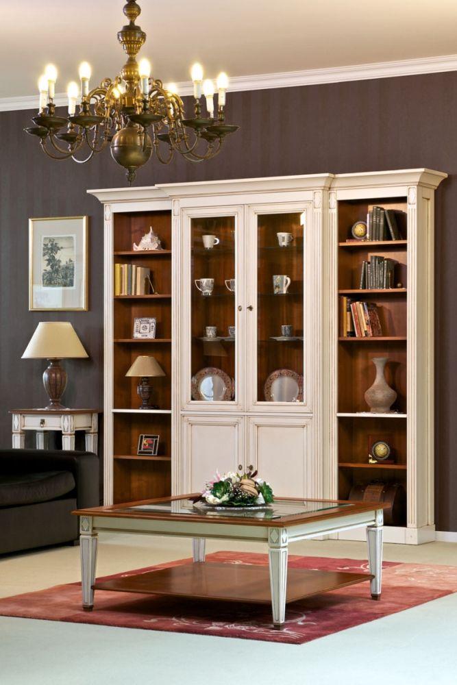 Harmony knihovní sestava a stolek ve světlé barvě, tradiční styl / living furniture in traditional style