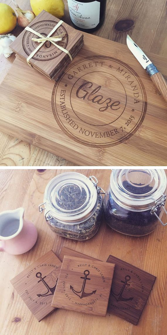 The best gifts have a personal touch ♡ Custom engraved cutting boards and coasters from Wood Be Mine   woodworking   Diy cutting board, ...