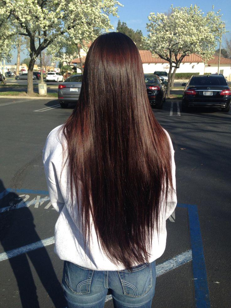 Rich dark chocolate brown hair. Long healthy hair