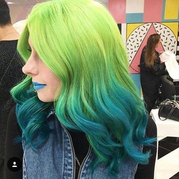 Bye bye dip-dye hello High-end bleed.  Thank you to the London Metro Newspaper  for getting behind our high class trend! #Metro #hairinspo #mermaidhair #greenhair #bluehair. Hair by Annie