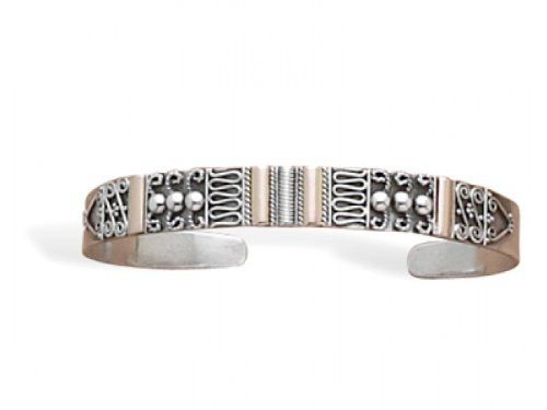 MMA Silver - 14 Karat Gold Plated and Sterling Silver Bali Cuff Bracelet MMA Silver. $159.00