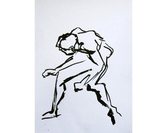 Taut (February 2014), original ink painting of nude male model life drawing on Etsy, £40.00