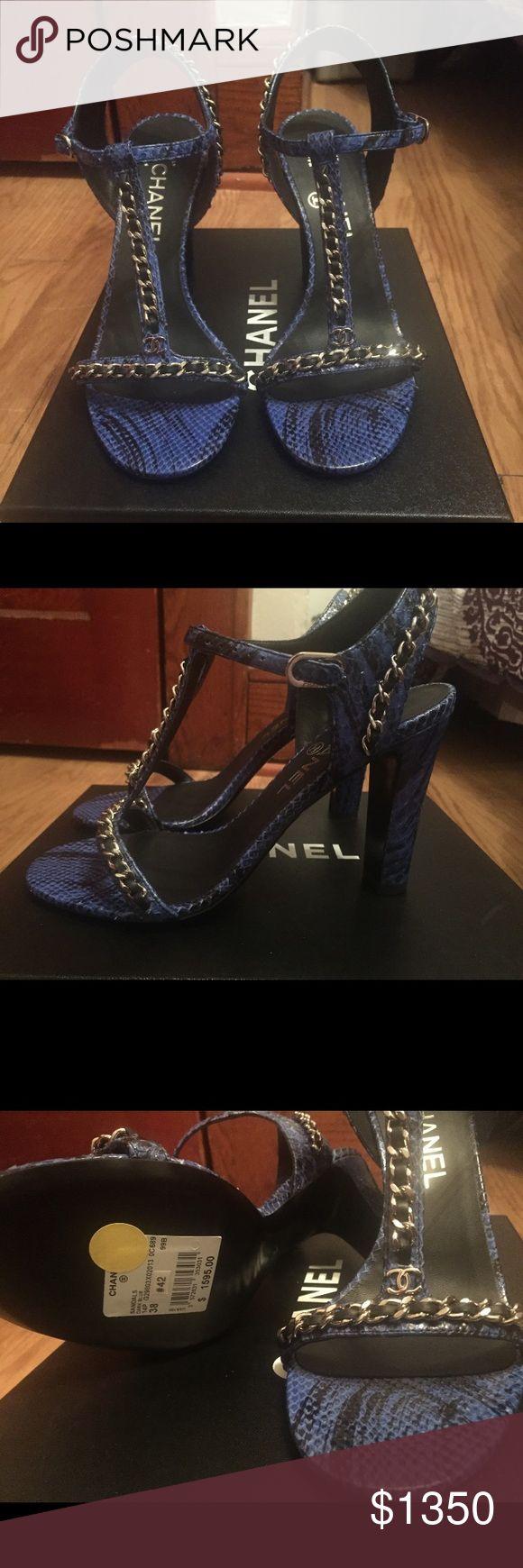 Chanel Blue python silver chain pumps Blue python silver chain pumps - CHANEL size 38 (b width)  Never worn Original price $1595 CHANEL Shoes Heels