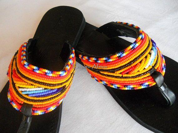 Africaine Sandales Chaussons Orange En Cuir Perles KJc3TluF1