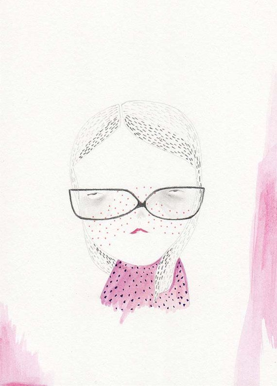 drawing original illustration girl glasses by prettylittlethieves