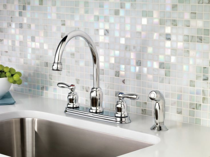 Caldwell Chrome Two Handle High Arc Kitchen Faucet.