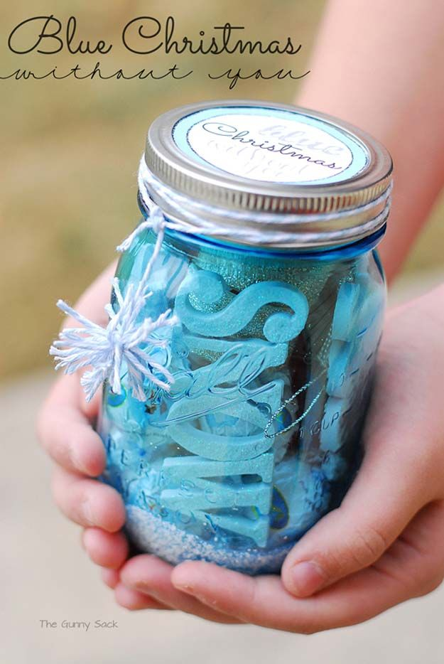 Cute DIY Mason Jar Gift Ideas for Teens - Blue Christmas Without You - Best Christmas Presents, Birthday Gifts and Cool Room Decor Ideas for Girls and Boy Teenagers - Fun Crafts and DIY Projects for Snow Globes, Dollar Store Crafts and Valentines for Kids