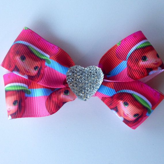 Strawberry Shortcake Hair Bow Clip with Heart by OliverandMay, $5.00