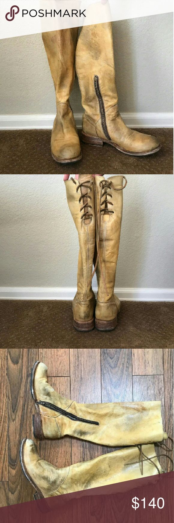 Bed Stu (Free People) Natural Mechanic boots Excellent condition size 7 the left boot feels more like a 7.5 but says it's a 7 the right boot fits my size 7 foot perfect very soft blonde or white  leather  super cute distressed style Bed Stu Shoes Combat & Moto Boots