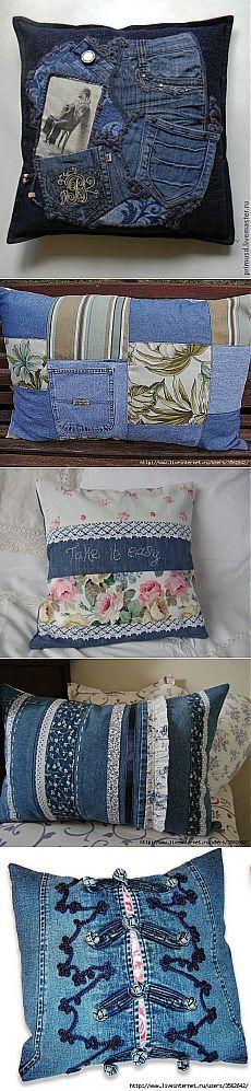 Идейки для пристроя старых джинс - декоративные подушки | Варварушка-Рукодельница