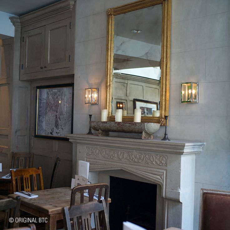 Seen Cubitt House in London: the Miniature Box Wall Lights give this smart restaurant interior a unique, antique finish.