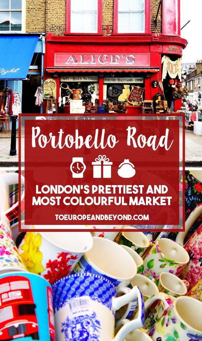 Die Portobello Road mit angrenzendem Markt ist ein wunderschönes Fleckchen von London. Hier kann man das wahre London kennen lernen. In bunten Häusern sind viele Antiquitäten und Vintage Läden. Hier tummeln sich nicht so viele Touristen und man hat sofort das Gefühl in eine ganz anderen Welt eingetaucht zu sein. Hier gibt es viele preiswerte und gemütliche Pubs und Restaurants.