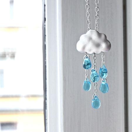 Uværssky- smykke med blå glassdråper