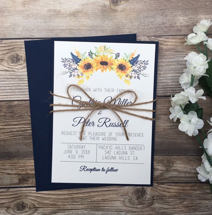 Excited to share this item from my #etsy shop: Sunflower invitation, navy sunflower wedding invitation, navy blue invitation, rustic sunflower boho invitation, rustic navy invitation