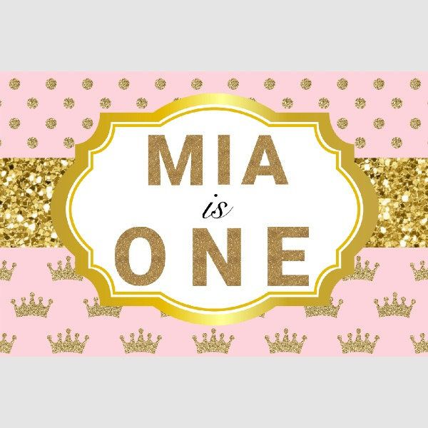 Pink and Gold First Birthday Banner. Princess Birthday Banner. Princess Birthday Party Decor. Custom Birthday Banner. 1st Birthday Banner by FaithJewelzPrintz on Etsy