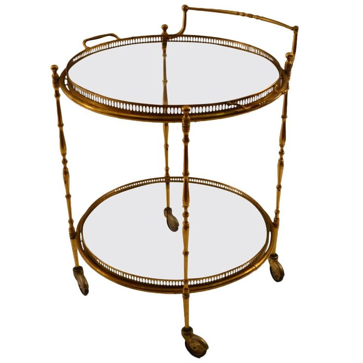 Brass Bart Cart Serving Trolley | From a unique collection of antique and modern carts and bar carts at https://www.1stdibs.com/furniture/tables/bar-carts/