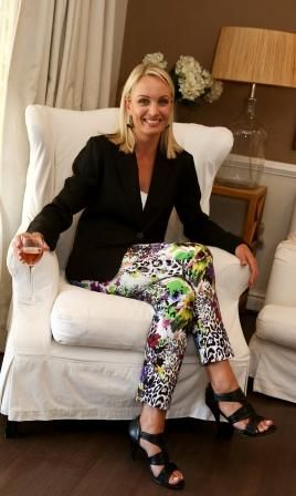Barrington Printed Pants and Collins pure linen blazer in black