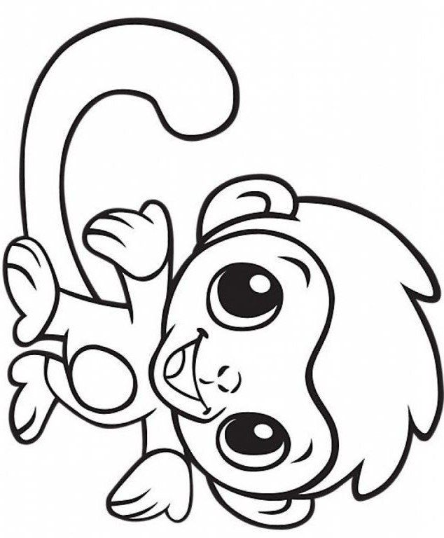 Monkey Coloring Pages Free Printable Cute Baby Monkey Coloring Page Free Printable Coloring Monkey Coloring Pages Cute Coloring Pages Birthday Coloring Pages