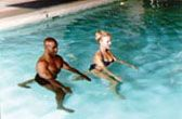 Couples water yoga