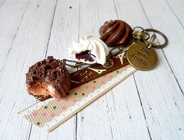 chocolate pralines keyring made from polymer clay