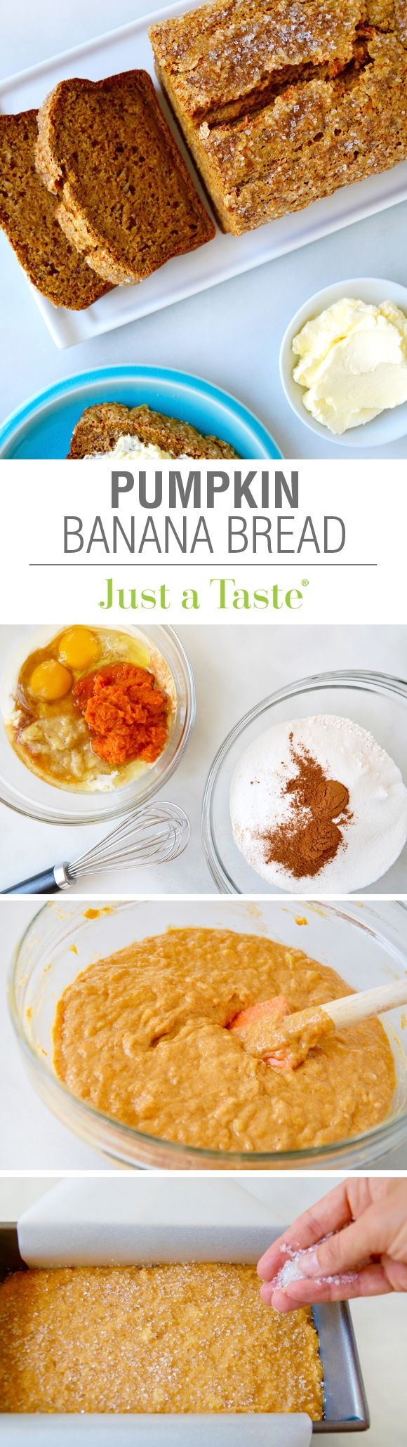 Pumpkin Banana Bread #recipe from justataste.com