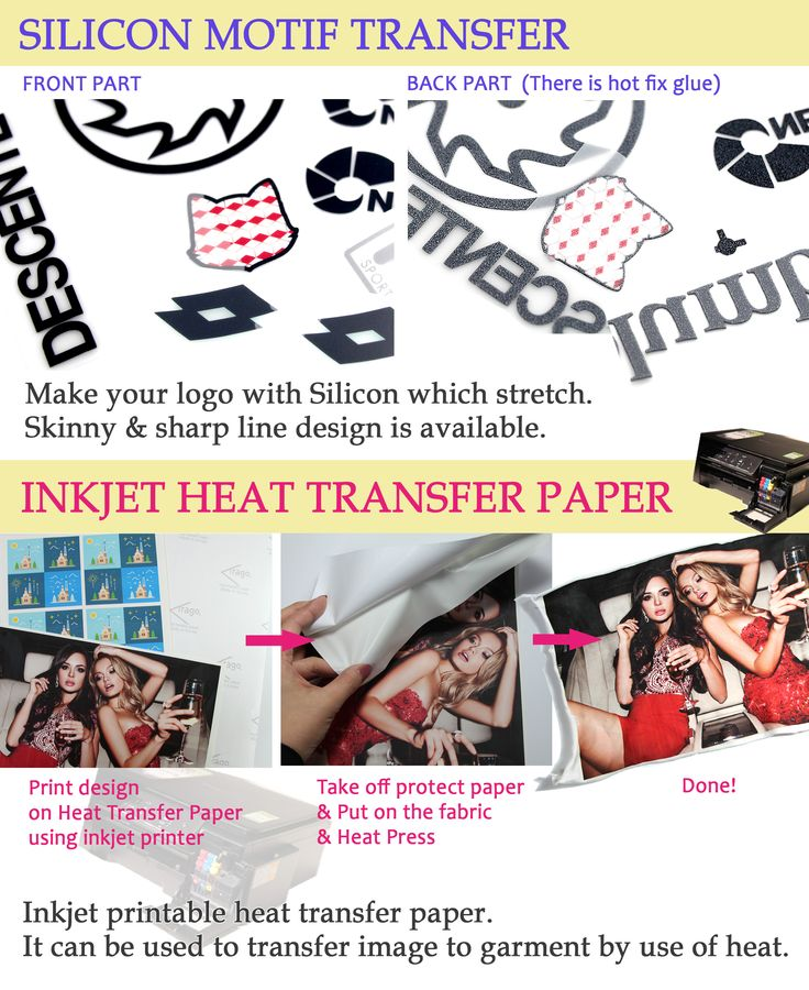 Silicon Motif with Heat Transfer -Skiny and sharp line designs are available. Providing many different thinkness. Inkjet Paper with Heat Transfer -Could be used by Hot Fix Form. A Inkjet Print is needed.