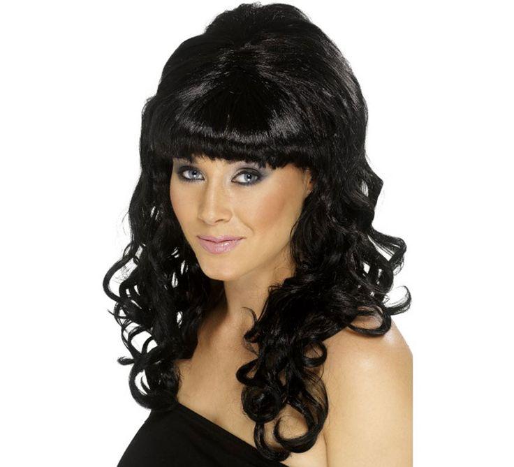 Peluca de los Años 60 Peinado de Colmena Negra para Mujer
