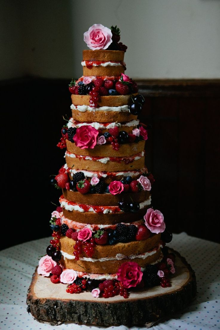 Naked Cake Berries Cream Sponge Layer Flowers Crafty Budget Polka Dot Village Hall Wedding https://matildarosephotography.com/