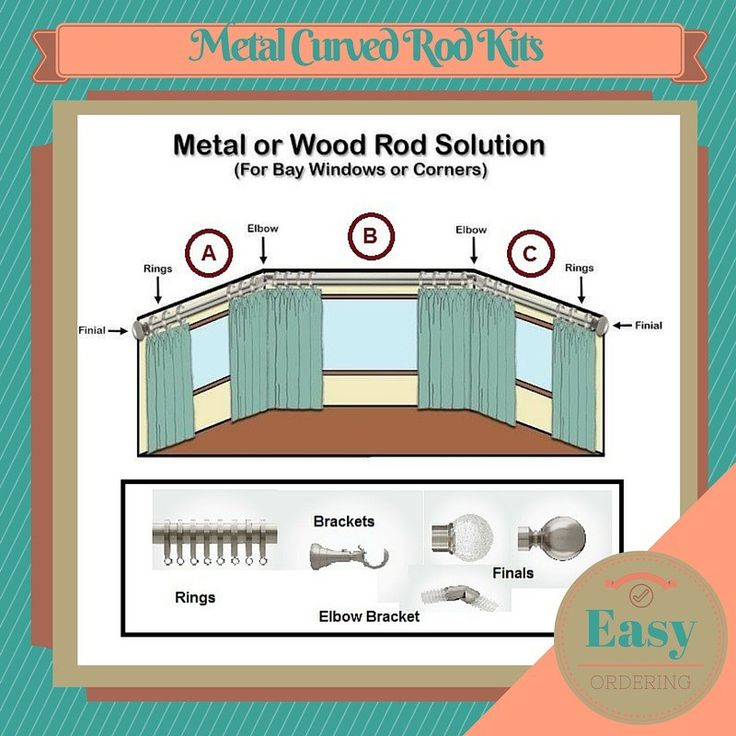 metal curved curtain rod kit 118 in diameter for bay