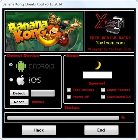 Banana Kong Cheats Tool v5.18 2014 for Android/iOS. Working without problems. Download here! The Best Cheats only from YavTeam. http://www.yavteam.com/banana-kong-cheats-tool-v5-18-2014/
