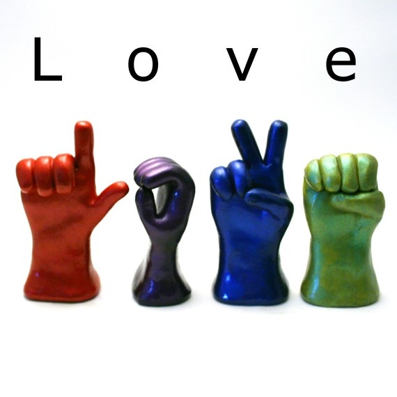 sculptures fingerspelling love...sold on Etsy