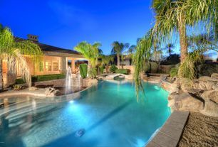 Tropical Swimming Pool with Custom Swimming Pool Waterfall Feature, Tile Roofing Installation Cost Calculator, Fence