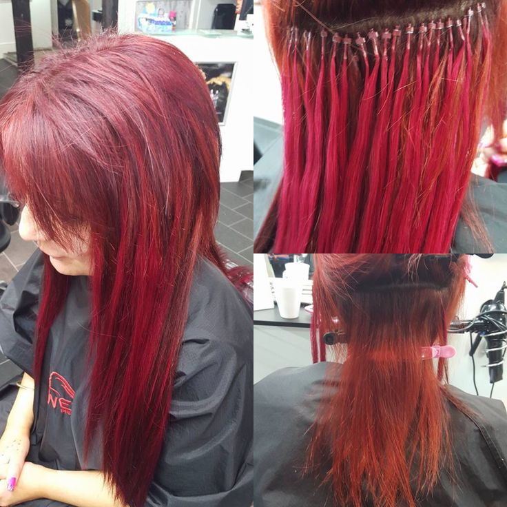 Who doesn't like Red??? And red Hair Extensions...Hot Hot Hot.....Micro ring hair extensions before during and after.